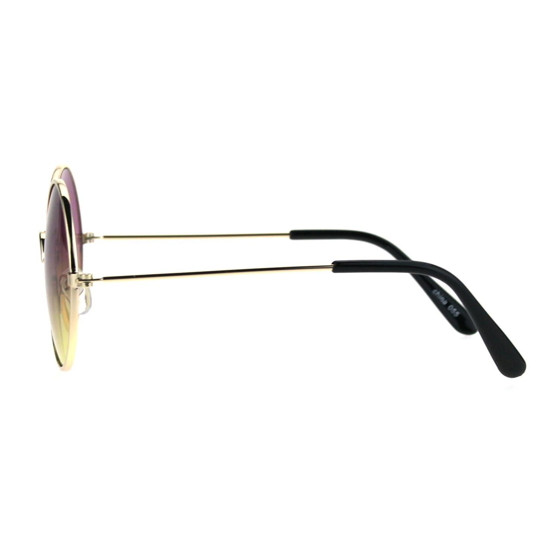 Kids Child Size Hippie Round Circle Lens Tie Dye Gradient Metal Sunglasses