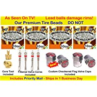 Checkered Flag Tire balance Beads, no lead and no damage tire beads, 4- 10oz bags of tire balancing beads with filtered valve cores, red caps, 1 gold core tool w/ our white smooth balance beads