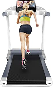 TOE Treadmill 3.0HP Folding Running Machine Free Installation with Color Screen Shock Absorption Walking Jogging Machine for Small Apartment Gym 286lbs Max Capacity