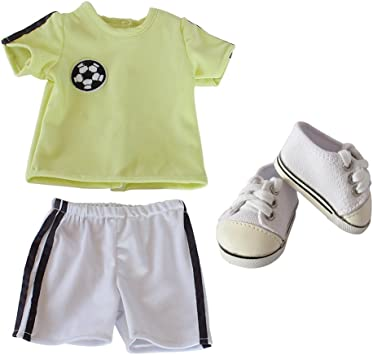 Buy Baby Girls Boys Dolls Soccer Uniform Outfits, 18 inch Doll Clothes Shoes-Doll  T-Shirt & Shorts & Shoes for 18'' American Girl Boy Doll AG Doll and Other  18'' Doll Online at