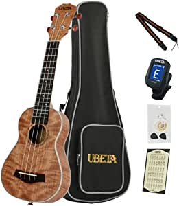 UBETA US-FM-063 Soprano Ukulele Exotic Mahogany Top,Back and Sides (6 in 1) Kit: Gig bag, clip-on tuner, aquila strings, picks,card and strap