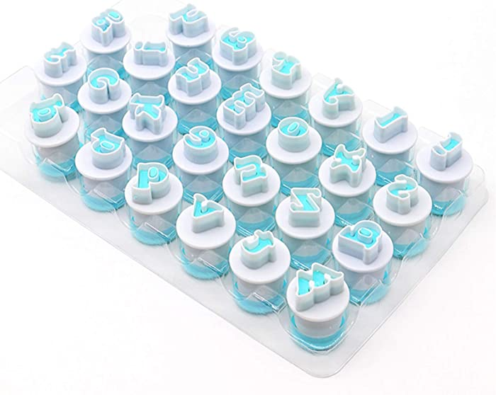 Small Letter Stamp Cookie Cutters Set of 26 pcs, Mini Lowercase Alphabet Spring Stamping Cutters Food Grade Plastic Direct Embossing Fondant Stamper Set for Cake Pastry Baking DIY (White & Blue)