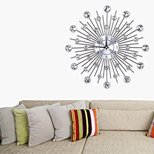 Wall Clock,Sparkling Bling Metallic Silver Flower-Shaped Wall Clock for Living Room Office - Round Flower(36x37x5.5cm/14.17x14.57x2.17inch)