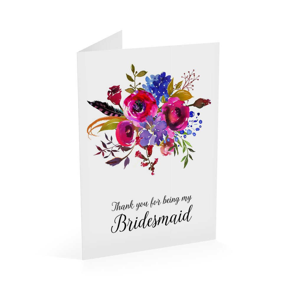 Thank You For Being My Bridesmaid Card, Wedding Party Cards, Size A1 Gift Card, Blank Inside