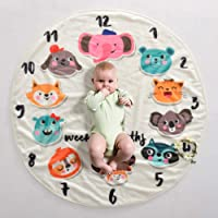 Baby Monthly Milestone Blanket   1 to 12 Months Soft Fleece   Best Photography Backdrop Photo Prop for Newborn (Cute Animal)