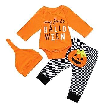 Infant Baby Unisex Halloween Costume Outfit Pumpkin Winter Romper Jumpsuit