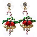 SoulBreezeCollection Candy Cane Christmas Jingle Bells Earrings Winter Gift Stuffers Stud Enamel