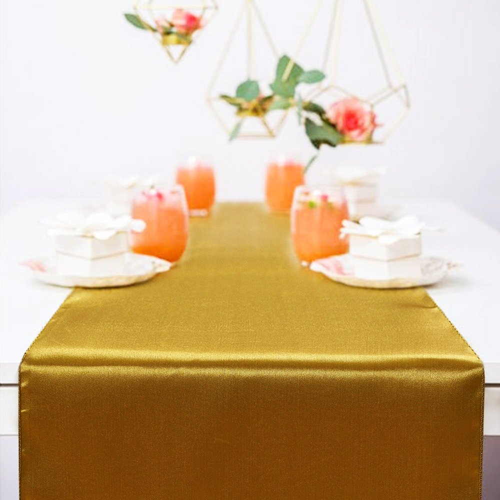 Ecore Gold Table Runner 10 Pack Satin Table Runners,12 x 108 Inches For Wedding Banquet Decoration by ECORE (Image #6)