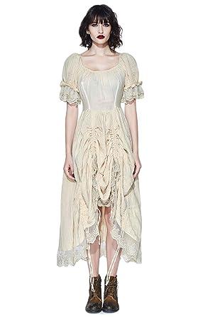 33b4fe1ac72 Devil Fashion Robe Blanc cassé à drapés avec Bordures en Dentelle et laçage  au Dos