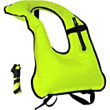 Inflatable Snorkel Vest Snorkeling Adult Jacket Free Diving Swimming Safety Load Up To 220 Ibs Green