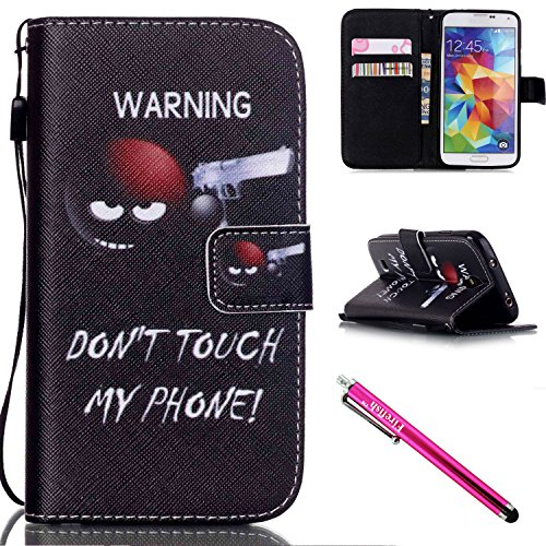 Corner Gel Oak - Galaxy S4 mini Case, Firefish Kickstand Flip [Card Slots] Wallet Cover Double Layer Bumper Shell with Magnetic Closure Strap Case for Samsung Galaxy S4 mini i9600/9192/9195-Shoot