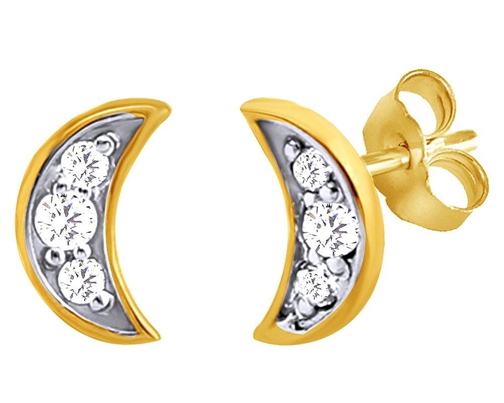 14Kt Gold Cresent Moon Cubic Zircon Stud Earrings Stud Earrings