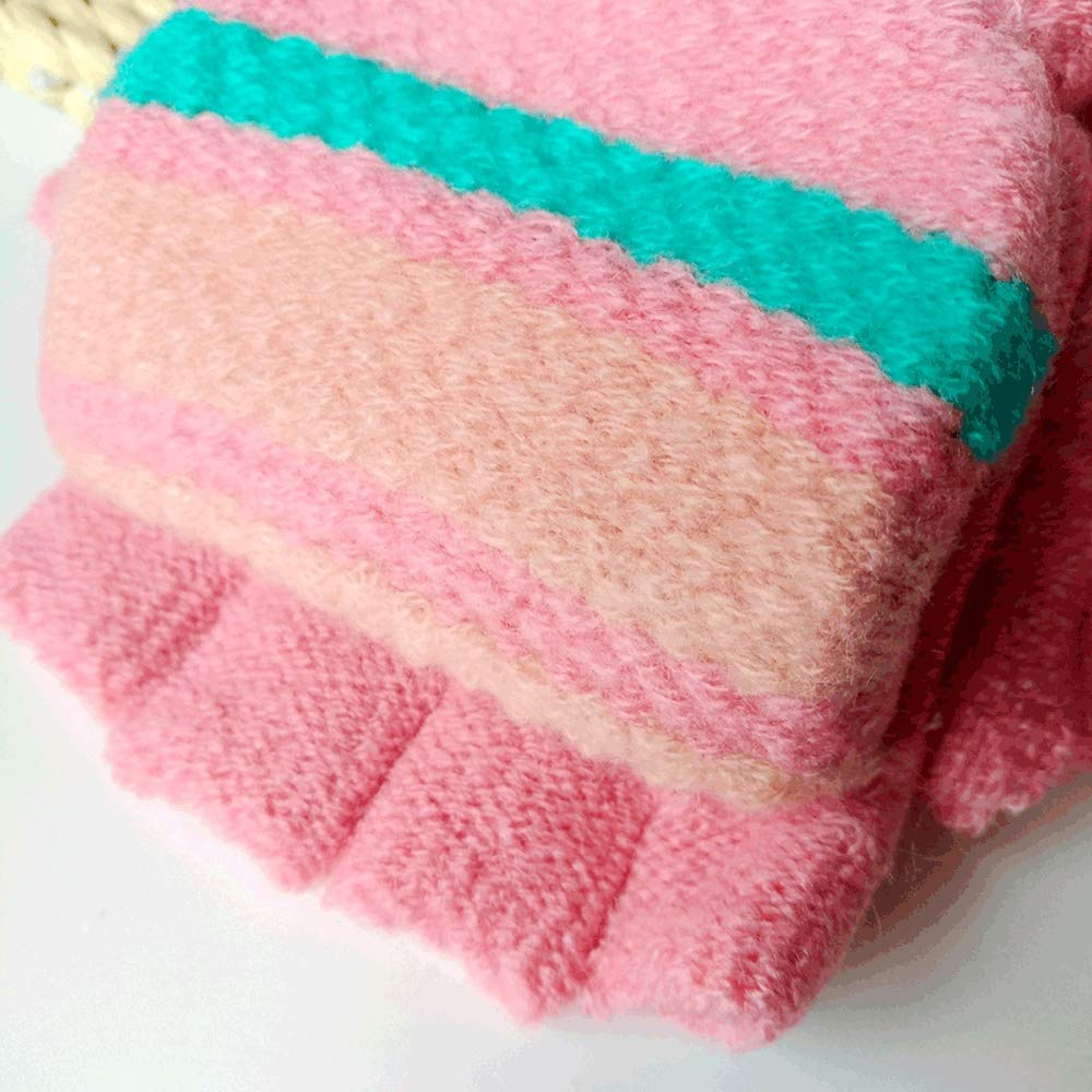 SPRRC Kids Knitted Mittens Half Fingerless Gloves With Mitten Flap for Boys Girls 7-12 Years Old Pupils Writing Half Finger Fingerless Knitted Wool Warm Gloves