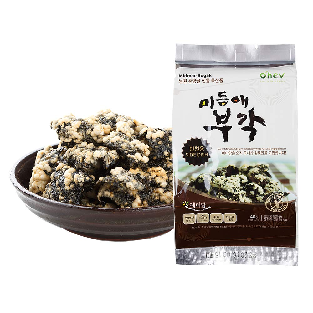 Seaweed Sweet Rice Crisps Crunch Bites Korean Snack for Side Dish 1.41 Ounce (Pack of 8) Non-GMO Gluten Free 0g Sugar