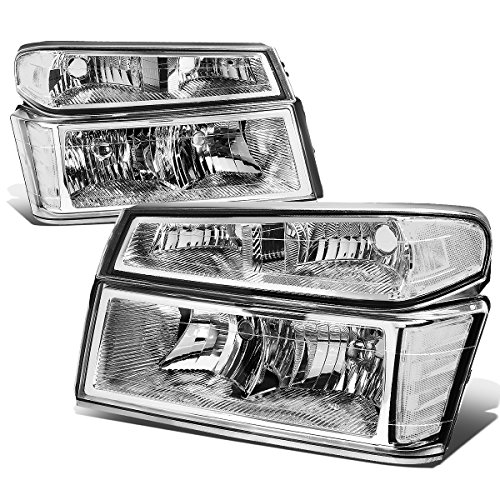 (For Chevy Colorado/GMC Canyon 4Pcs of Chrome Housing Clear Corner Headlight Bumper Light)