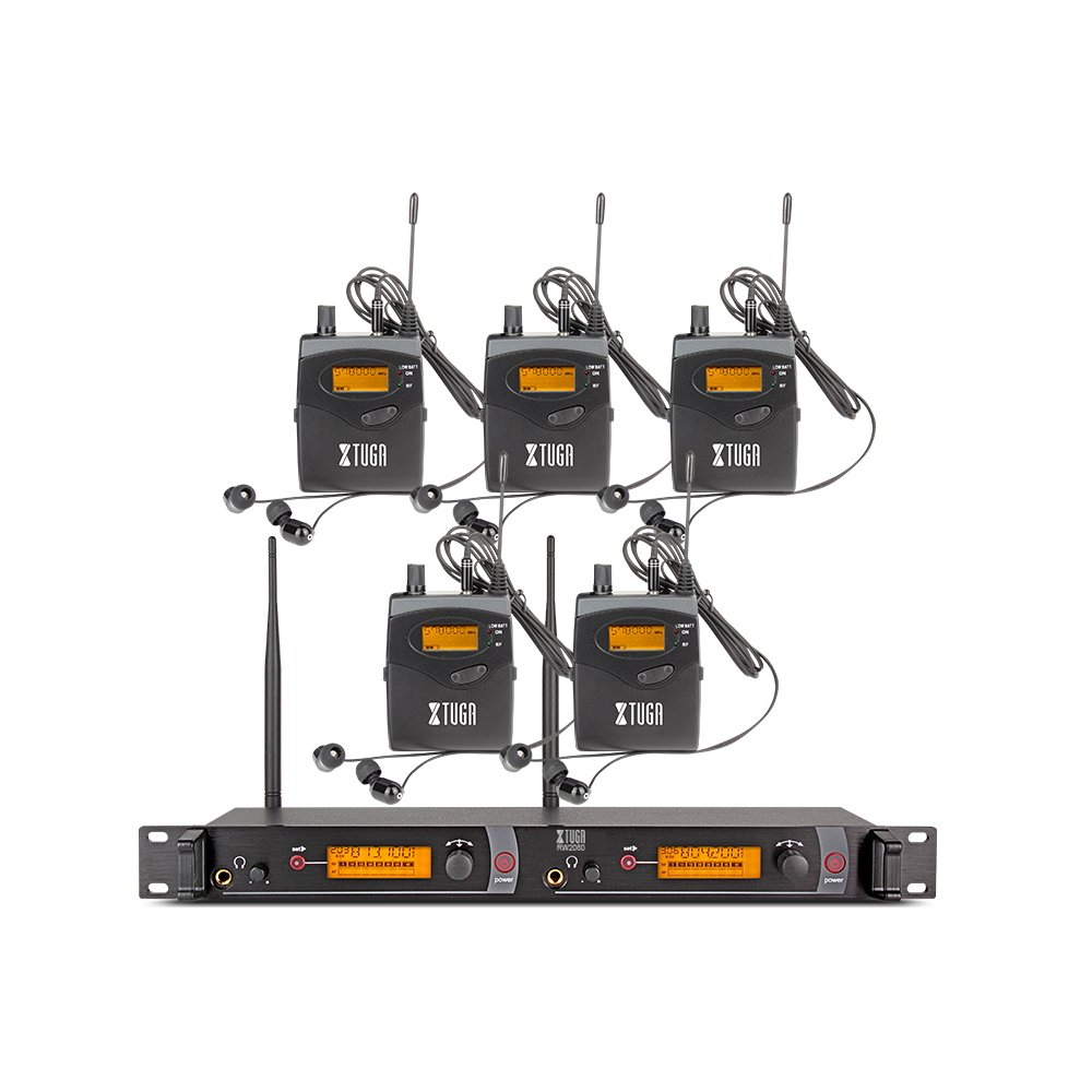 XTUGA RW2080 Rocket Audio Whole Metal Wireless in Ear Monitor System 2 Channel 5 Bodypacks Monitoring with in Earphone Wireless Type Used for Stage or Studio