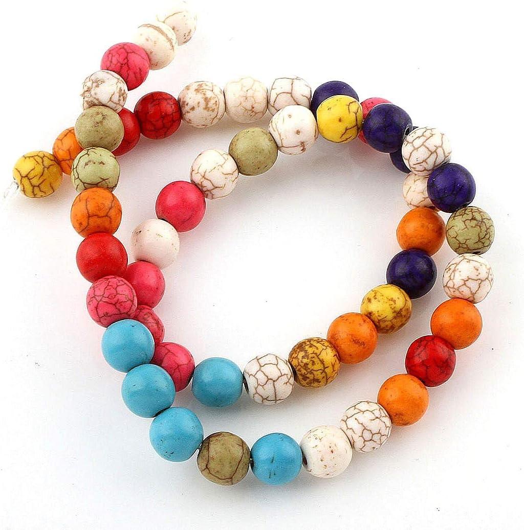 Piedras Preciosas Perlas 8 mm Turquesa Piedra Multicolor Mix Set Bola Perlas Cuerda Perla Collar Joyas Piedra