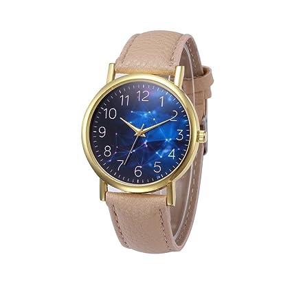 Xinantime Relojes Mujer,Xinan PU Banda de Cuero Aleación Analógica de Cuarzo Reloj (Beige