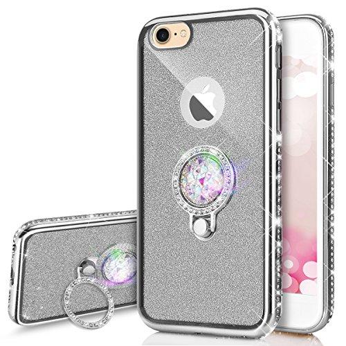 PHEZEN iPhone 6 Plus / 6S Plus Case, iPhone 6S Plus/iPhone 6 Plus Luxury Glitter Sparkle Bling TPU Case,Chrome Diamond Rhinestone Soft Silicone Rubber Bumper Case with 360 Ring Stand Holder, Silver