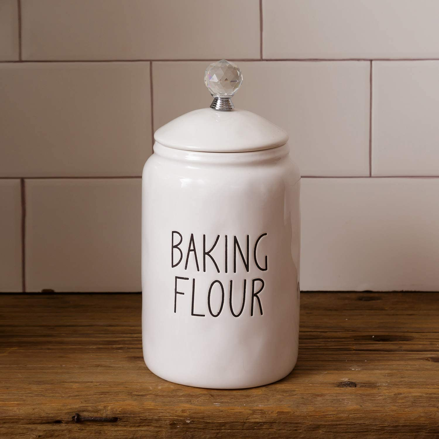 White Ceramic Baking Flour Canister with Lid and Crystal Handle - Rustic Kitchen Counter Storage Container - Farmhouse Home Decor