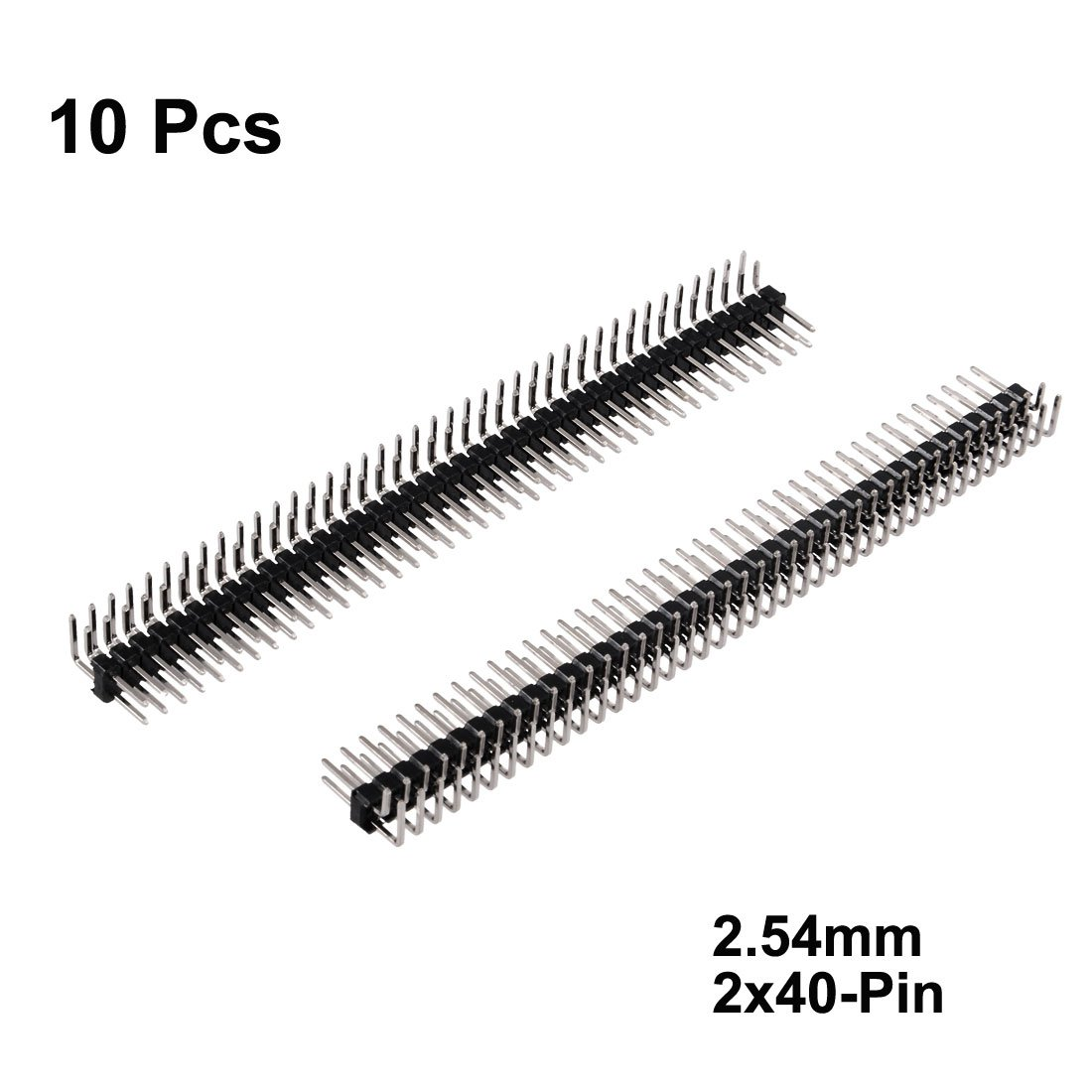 uxcell 10Pcs 2.54mm Pitch 40-Pins Double Row Right Angle Connector Pin Header Strip for Arduino Prototype Shield