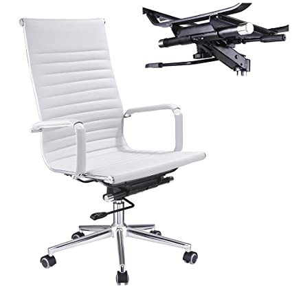 leather swivel office chair. Yescom Executive High Back Ribbed PU Leather Swivel Office Computer Desk Chair White XL