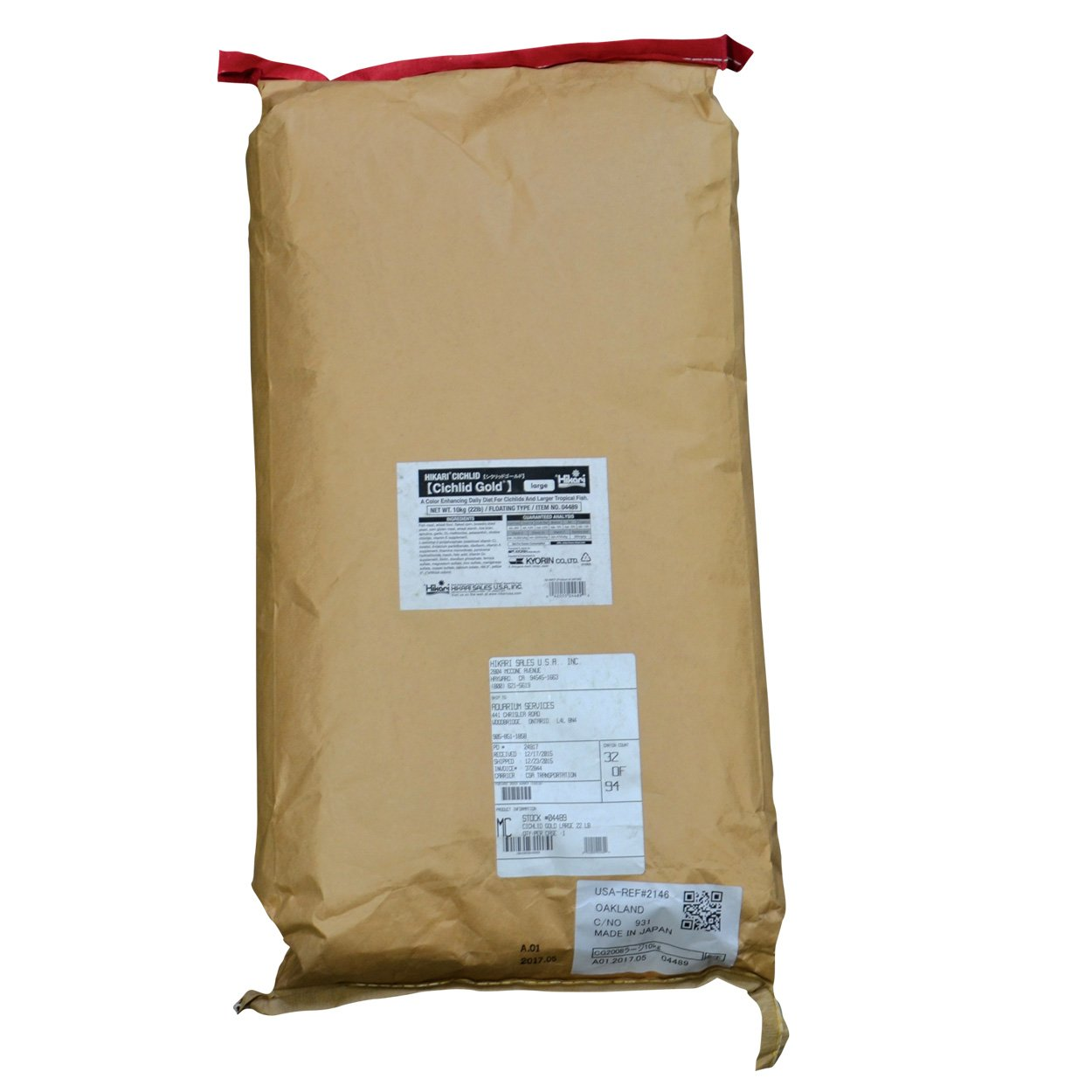 Hikari 69653 Cichlid Gold, Large Pellets, 22 lb