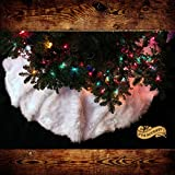 Christmas Tree Skirt Plush Shaggy Faux Fur White Round (4 Diameter, Off White)