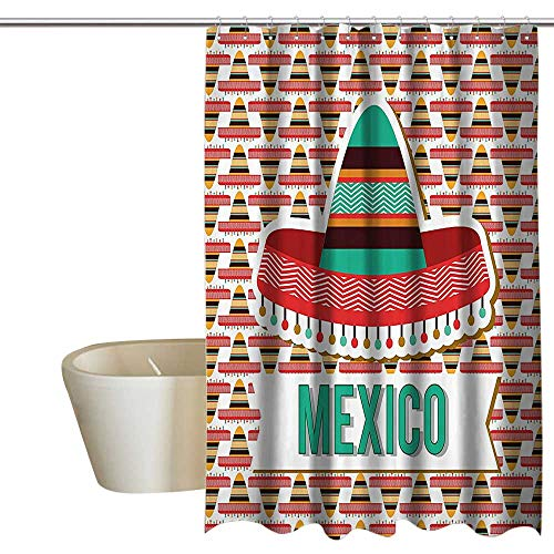 Mexican Decorations Collection Mildew Resistant Fabric Shower Curtain