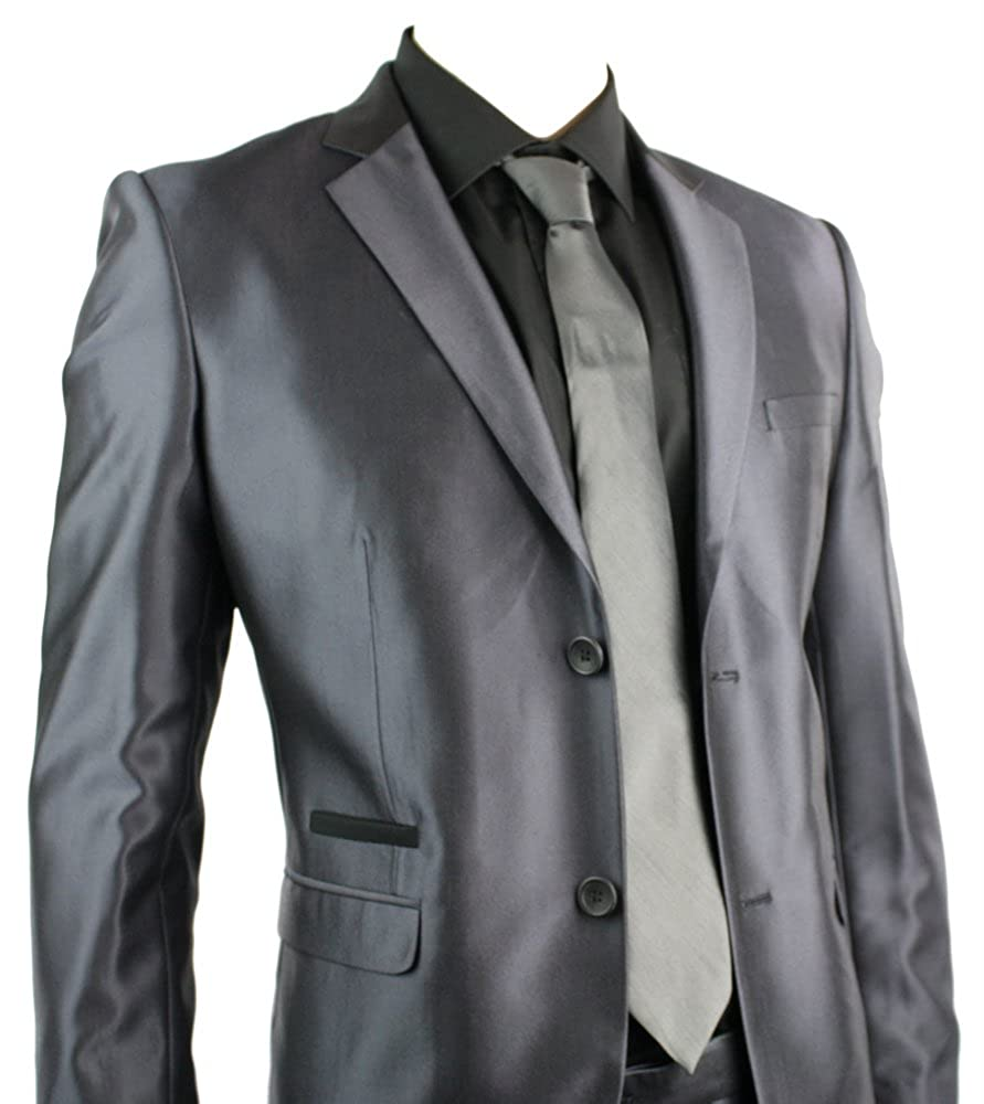 Mens Slim Fit Suit Silver Grey Shiny 2 Button Black Piping Work Or Tailored Jacket With Twin Buttons Party Uk Clothing
