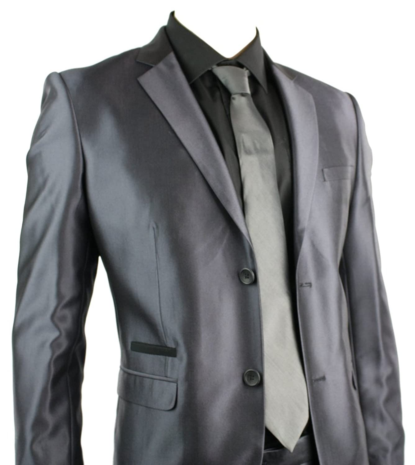 Mens Slim Fit Suit Silver Grey Shiny 2 Button Black Piping Work or ...