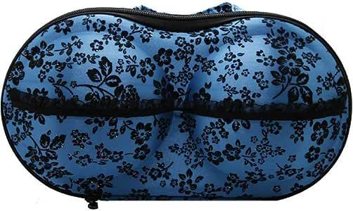 حقيبة حفظ وتنظيم صدرية للنساء مع دانتيل و وردة بلون ازرق