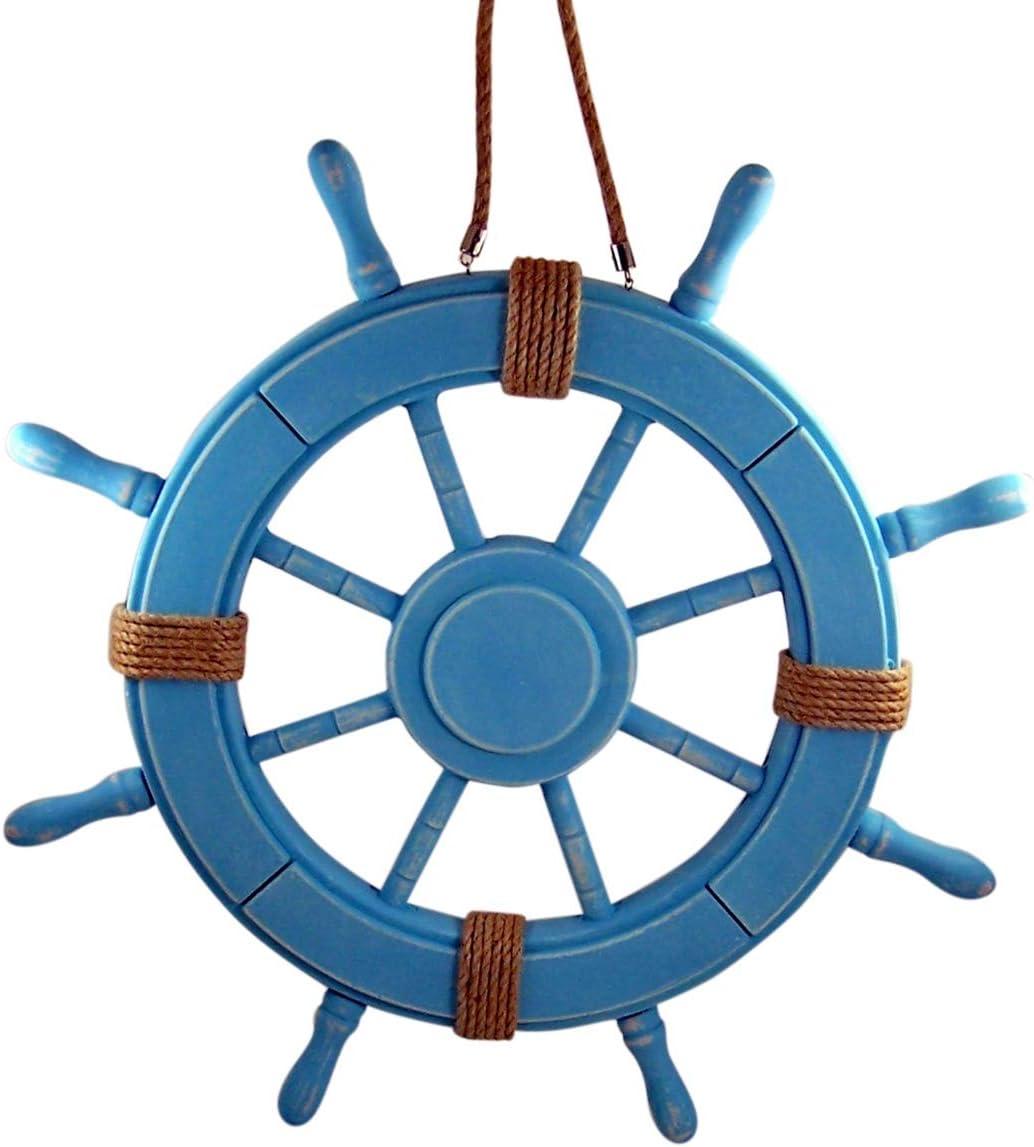 Distressed Beach Themed Home Decor Nautical Blue Wooden Ship Wheel Wall Decoration, 2 Feet
