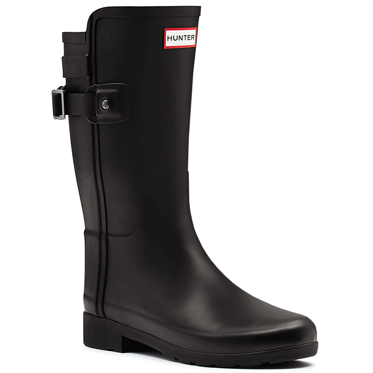 Hunter Womens Original Refined Back Strap Short Wellingtons Winter Boots - Black - 10-42