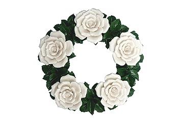 Couronne en céramique - Roses - Composition floral artificielles en ...