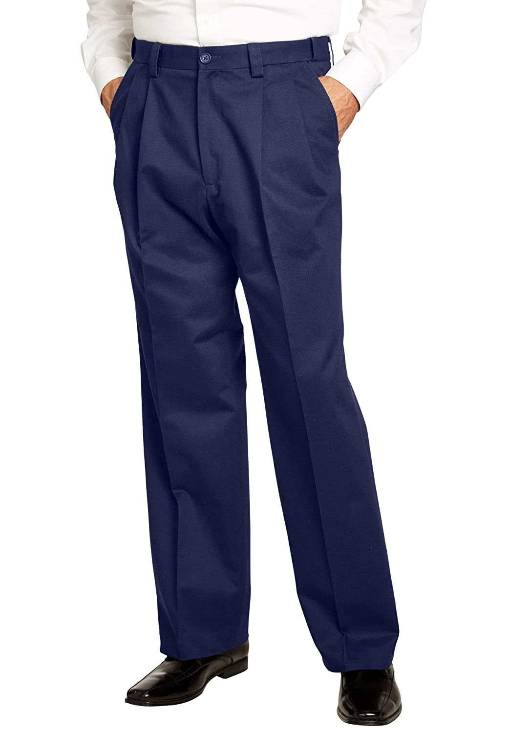 KingSize Mens Big /& Tall Relaxed Fit Wrinkle-Free Expandable Waist Pleated Pants
