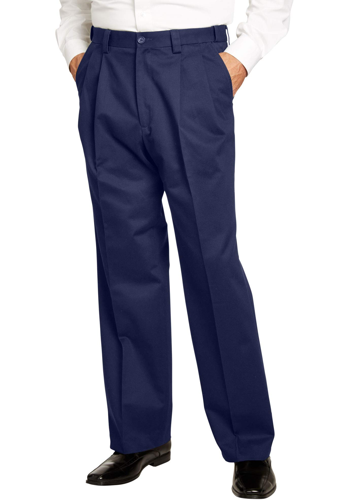 KingSize Men's Big & Tall Relaxed Fit Wrinkle-Free Expandable Waist Pleated Pants, Navy Big-7238