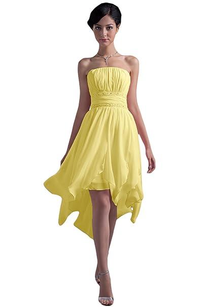 Sunvary Glamour traegers con ropa de noche de punta larga gasa pelota para ropa Fiesta amarillo