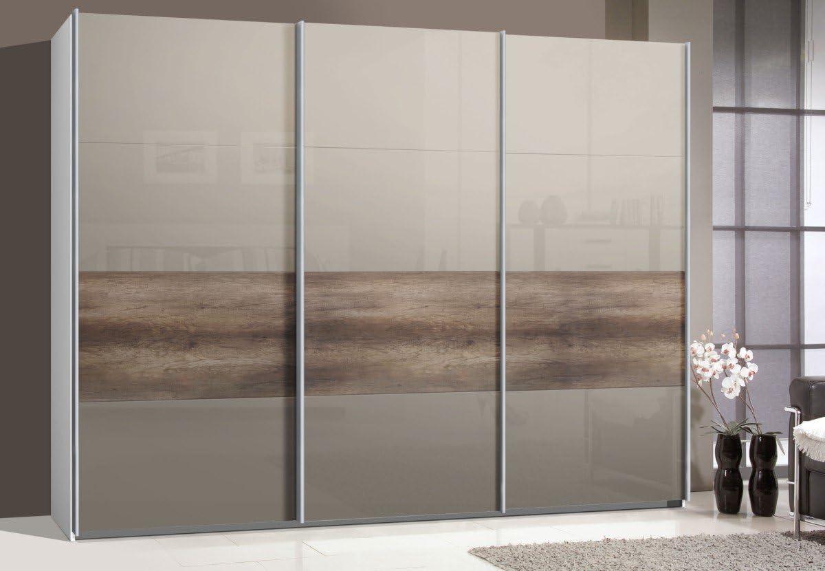 Armario de puertas correderas, puerta corredera, 3trg., aprox 300 cm, vidrio Sahara gris con madera de roble, armario: Amazon.es: Hogar