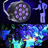 U`King UV Stage Lights Black Lights 12 LEDs Party Lights with DMX Controller and 2 IR Remote Par can for DJ Club Party Bar Disco Neon Party Stage Lighting