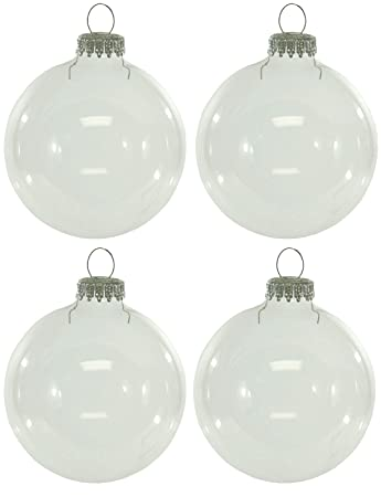 Amazon.com: Krebs Set of 4 Clear Glass Ornaments [78000]: Home & Kitchen