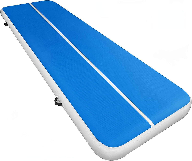 GEPCO 5M Turnmatte Air Track Matte Tumbling Aufblasbar Gymnastikmatte Blau Grau