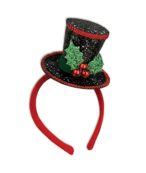 9e44cb17ef1 Amazon.com  Faerynicethings Adult Size Christmas caroler Mini Top Hat On  Headband - Sequins and Holly  Clothing