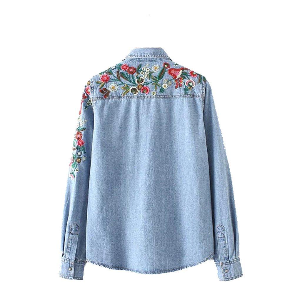 d47e3ab3b3f zsdfase Women Sweet Flower Denim Pockets Long Sleeve Turn Down Collar  Blouse Female Casual Brand Tops Blusa LT1830 at Amazon Women s Clothing  store