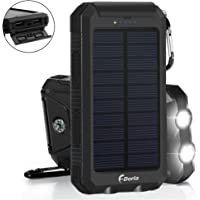F.DORLA Solar Charger 20000mAh Power Bank, Portable Charger Solar Phone Charger with 2 USB Port 2 LED Light External Battery Pack for Emergency Travelling Camping, iPhone Android Cellphone Charging