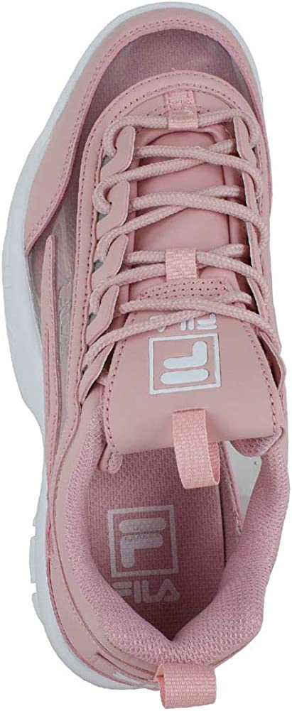 Fila Womens Disruptor II Metallic Accent Leather Synthetic Trainers Pink White EAAJhZ