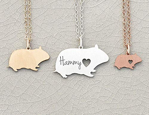 - Hamster Necklace - IBD - Guinea Pig Rodent Pet Lover Jewelry - Personalize Name Date - Pendant Size Options - 935 Sterling Silver 14K Rose Gold Filled