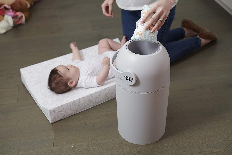 sin rellenos Sistema de eliminaci/ón de olores para pa/ñales sin olor color gris con capacidad para hasta 25 pa/ñales apto para pa/ñales desechables y reutilizables Vital Baby HYGIENE