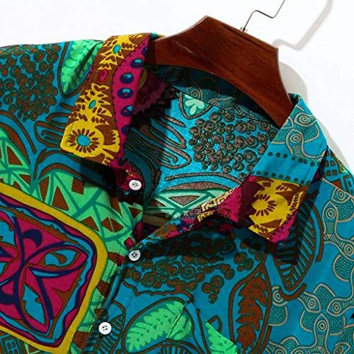 Cebbay Camisa Hawaiana Florar Casual Manga Corta Ajuste Regular para Hombre de Manga Corta con Cuello Redondo Y Estampado Floral de Manga Corta con ...