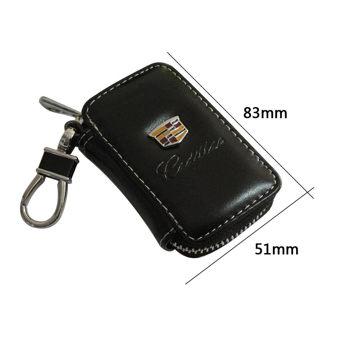 1pcs New Cadillac Black Premium Leather Car KeyChain Zipper Case Remote Wallet Bag Fit For Cadillac TNB New 1pcs Cadillac Keychain Lanyard Badge Holder